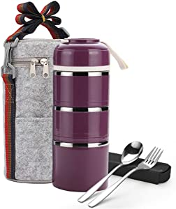 Stackable Lunch Box, ArderLive Portable Thermal Stainless Steel Insulated Bento Lunch Box with Lunch Bag & Portable utensil, BPA Free Leakproof Food Storage Container with lid.(3layer,purple)