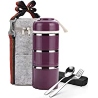 Arderlive Insulated Stainless Steel Lunch Box,Thermal Compartment Stackable Bento Box With Lunch Bag & Cutlery