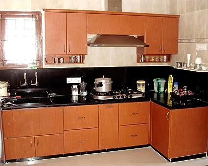 Elegant Wooden Small Size Modular Kitchen