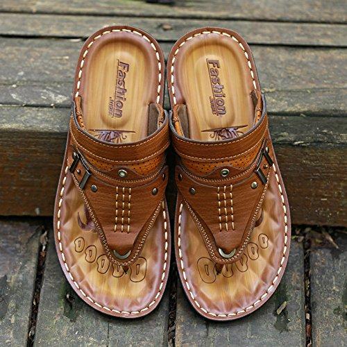 Basd'été leschaussuresdeplage toetoefashionmen'spiedsantidérapant tongs sandales Zhangjia 44 àdoublebutcoolpantoufles brunfoncé RCzwqC