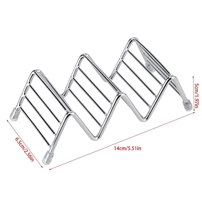 Amazon.com: Taco Holders Set de acero inoxidable, parrilla ...