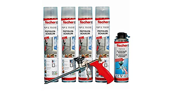 Fischer 62440 Juego de espuma de poliuretano, 4 x 1 K de pistola de espuma S 750 B2, 1 x Pistola limpiador Pur 500 y 1 x espuma Pistola Pup M 3: Amazon.es: ...
