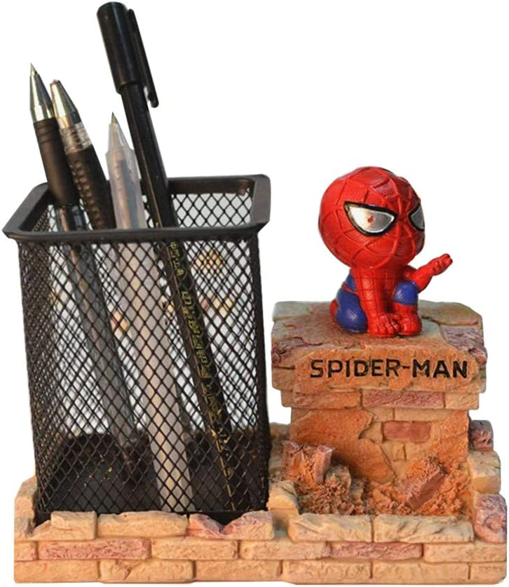 Iron Man Pen Holder, BREIS Creative Novelty Office Desk Decorations Man boy Girls Gadgets Stationery Storage Box Unique Gifts for Spiderman Fans (Red-A)