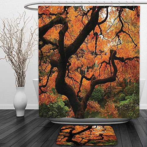 in And Ground MatJapanese Decor Collection Vivid Japanese Maple Trees Deep Dark in the Forest Quite Meditative Environment Photo Orange BrownShower Curtain Set with Bath Mats Rugs ()