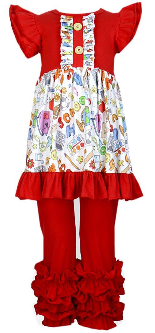 Girls Back to School Crayon Book Pencils Ruffles Capri Set 8/3XL