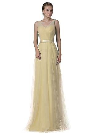 Cocomelody V-Neck Floor Length Zipper Bridesmaid Dress Yellow 30