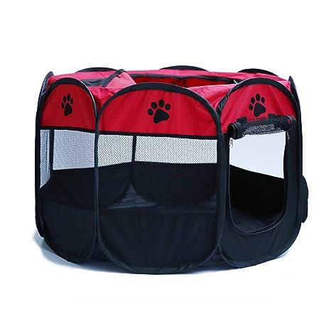 BONNIO Portable Mascota corralito Perros Plegables Interior Exterior Gatos Conejo Perrera extraíble Malla Cortina Cubierta