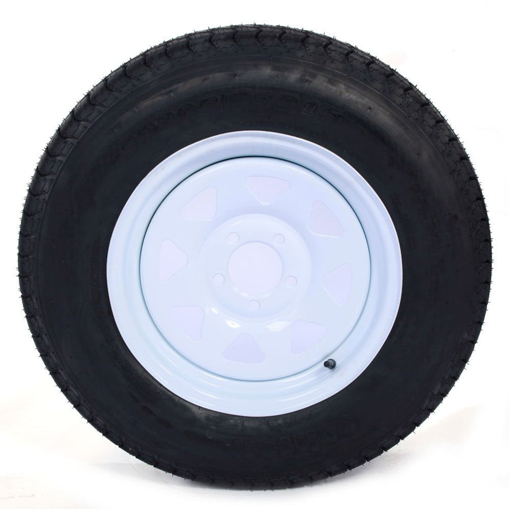Set of 2 15'' White Spoke Trailer Wheel with Bias ST205/75D15 Tire Mounted (5x4.5) bolt circle by Roadstar (Image #6)