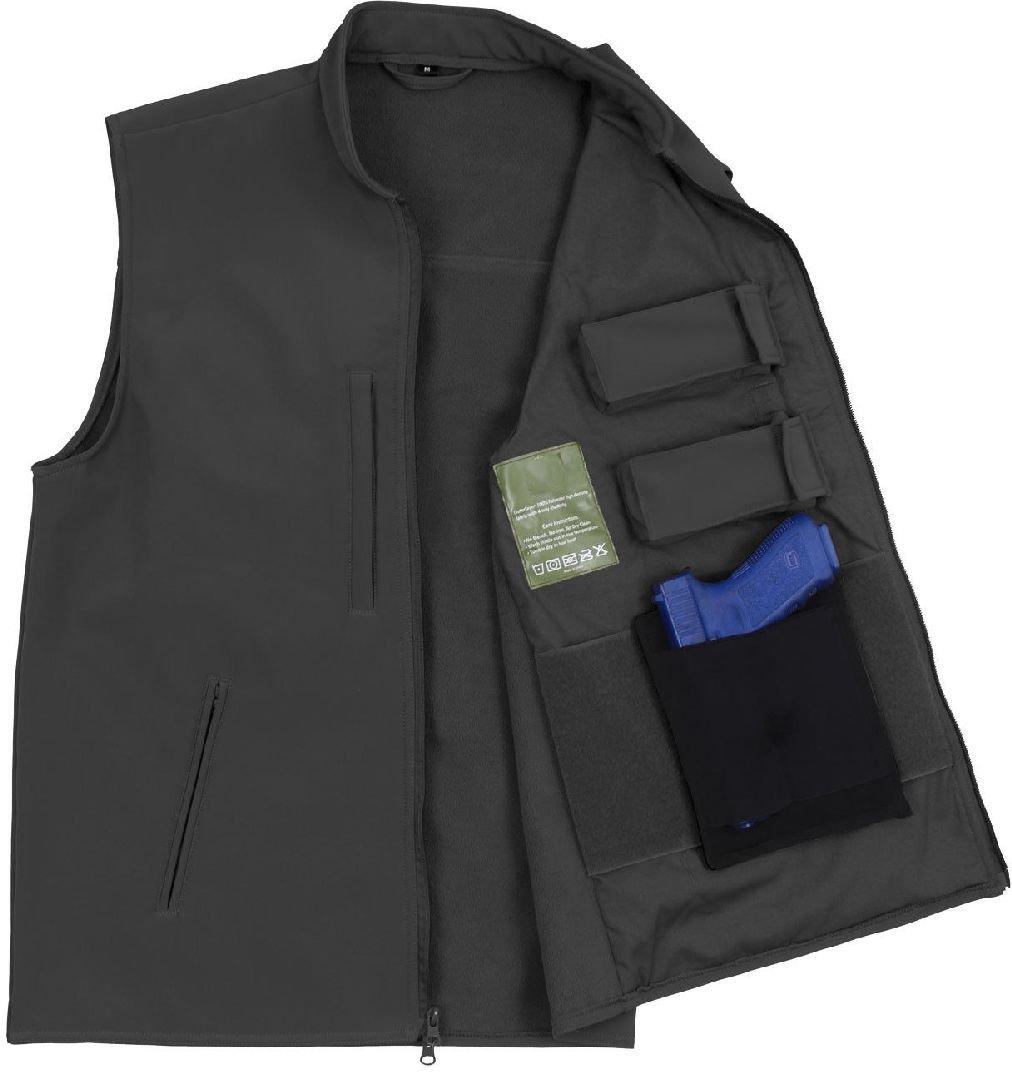 ブラックConcealed Carryタクティカルソフトシェルミリタリーベスト Medium  B07DG4VDDH
