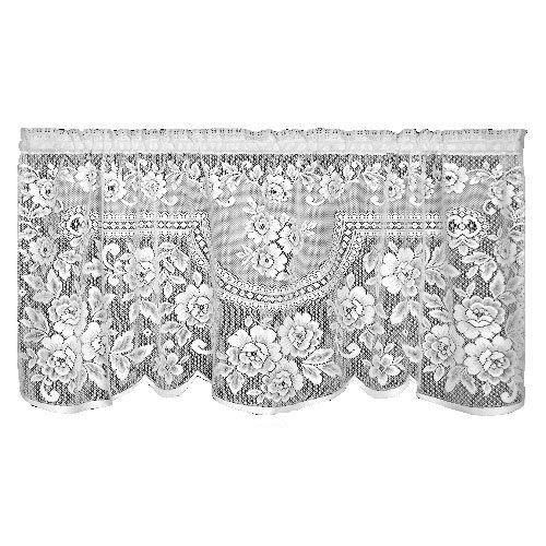 Heritage Lace Victorian Rose 60-Inch Wide by 30-Inch Drop Tier, White by Heritage Lace
