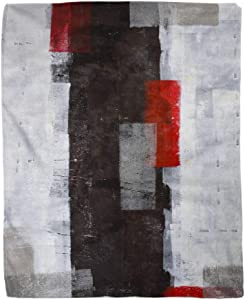 rouihot 50x60 Inches Throw Blanket Modern Red and Grey Abstract Painting Black White Wall Warm Cozy Print Flannel Home Decor Comfortable Blanket for Couch Sofa Bed