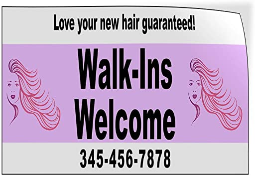 Custom Door Decals Vinyl Stickers Multiple Sizes Walk-Ins Welcome Phone Number Purple Business Hair Outdoor Luggage /& Bumper Stickers for Cars Pink 52X34Inches Set of 5