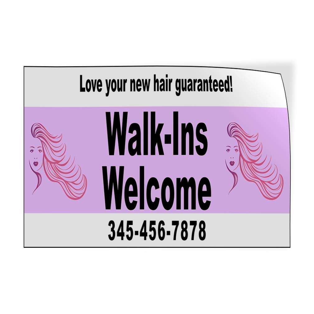 Custom Door Decals Vinyl Stickers Multiple Sizes Walk-Ins Welcome Phone Number Purple Business Hair Outdoor Luggage /& Bumper Stickers for Cars Pink 64X42Inches Set of 2