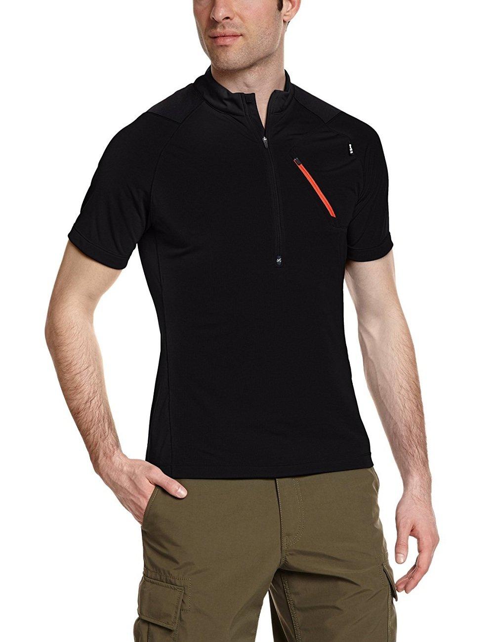 MILLET ROT Needles Shirt Zip Kurzärmelig