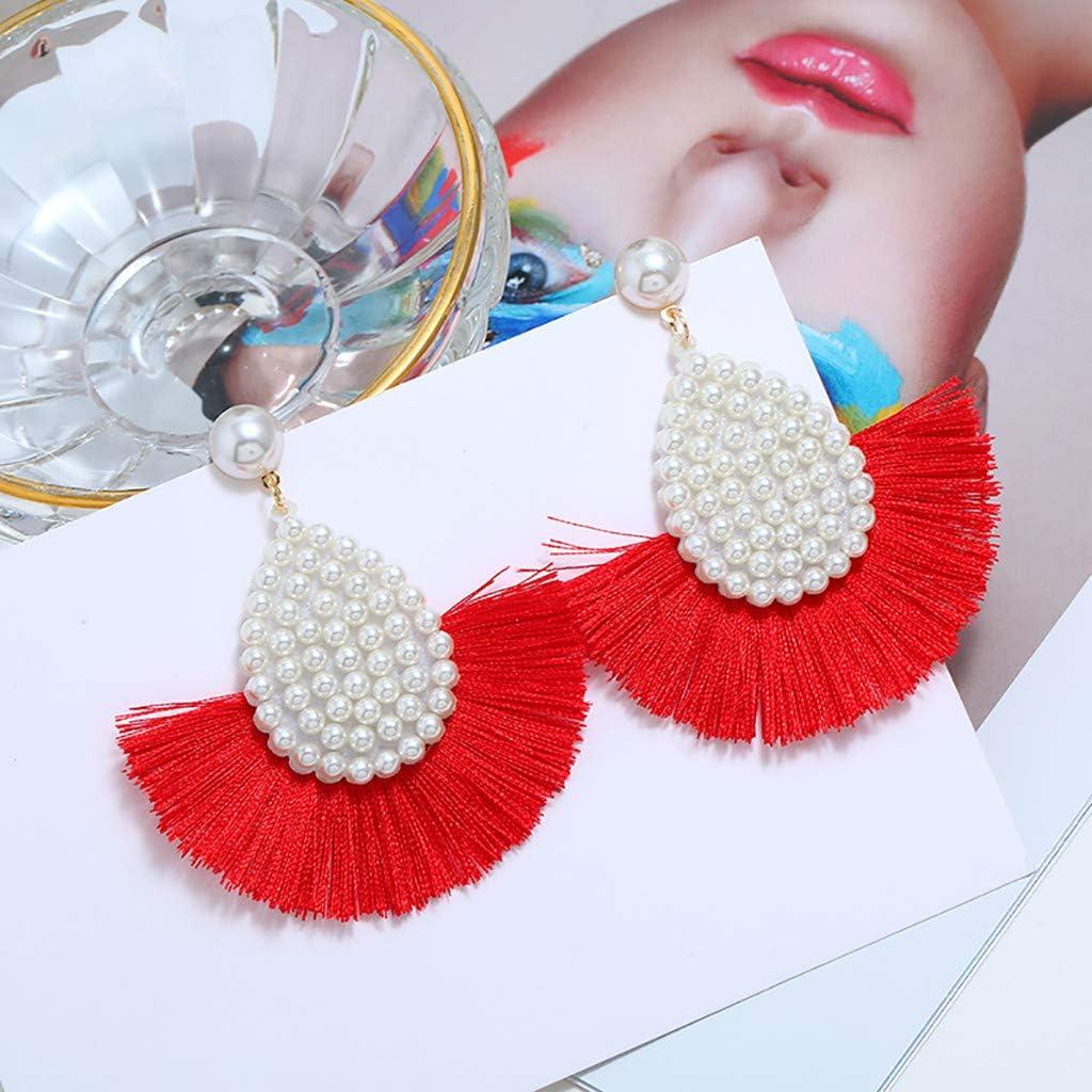 Fan Earrings Handmade Thread Pearl Bohemian Semi-Circle Tassel Ear Drop Dangle for Women