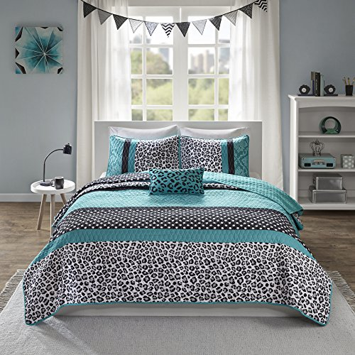4 Piece Girls Teal Blue Leopard Print Coverlet Full Queen Set, Polka Dots Damask Bedding Animal Pattern Exotic Wild Safari Jungle Zoo Floral Pretty Colors Wilderness Cat White Dots Black, Polyester by CA