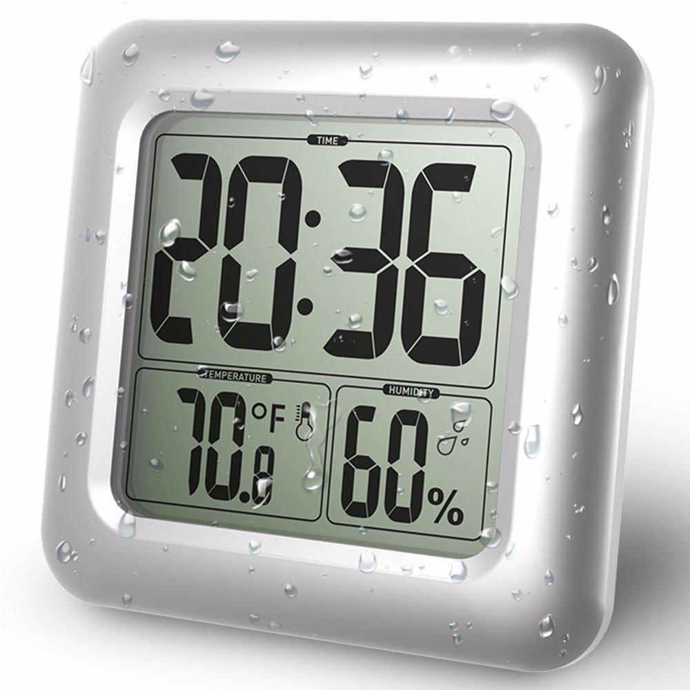 Bathroom Clock LCD Waterproof Timer Shower Clock Large Font Display the Time, Temperature and Humidity Four Strong Suction Cups Prevent Fell Off