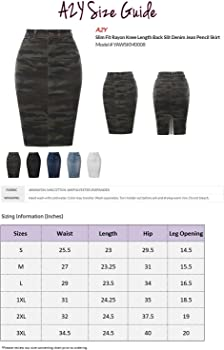 A2Y Womens Slim Fit Rayon Knee Length Unhem Back Slit Denim Jean Pencil Skirt