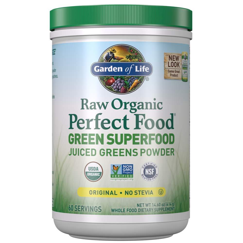 Garden of Life Raw Organic Perfect Food Green Superfood Juiced Greens Powder - Original Stevia-Free, Non-GMO, Gluten Free, Dietary Supplement, 60 Servings, 14.6 oz