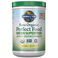 Garden of Life Raw Organic Perfect Food Green Superfood Juiced Greens Powder - Original Stevia-Free, Non-GMO, Gluten Free, Dietary Supplement, 60 Servings, 14.6 oz