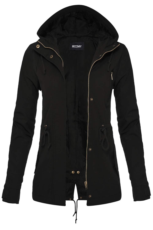 FASHION BOOMY Women's Zip Up Safari Military Anorak Jacket with Hood Drawstring - Regular and Plus Sizes Medium Black by FASHION BOOMY