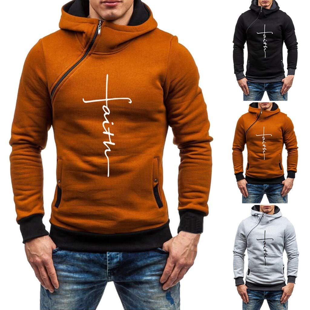 DDLBiz Mens Hoddie, Faith Men Autumn Winter Letter Print Zipper Hoodies Sweatshirts Outwear Tops Blouse