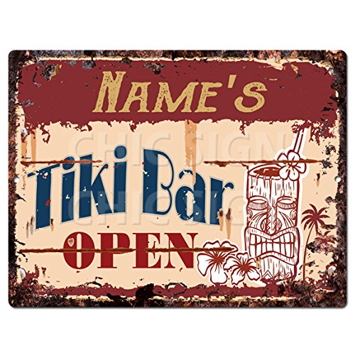 NAME'S Tiki Bar OPEN Custom Personalized Tin Chic Sign Rustic Vintage style Retro Kitchen Bar Pub Coffee Shop Decor 9