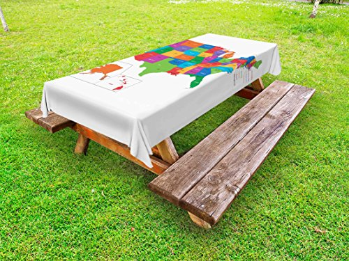 Ambesonne Wanderlust Outdoor Tablecloth, Colorful USA Map with States and Capital Cities Washington Florida Indiana Print, Decorative Washable Picnic Table Cloth, 58 X 104 inches, Multicolor