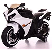 SR ENTERPRISES Battery Operated Ride on Bike R1 with Hand Accelerator, Foot Brake, USB Panel and Lights in Wheels - Rechargeable (White)