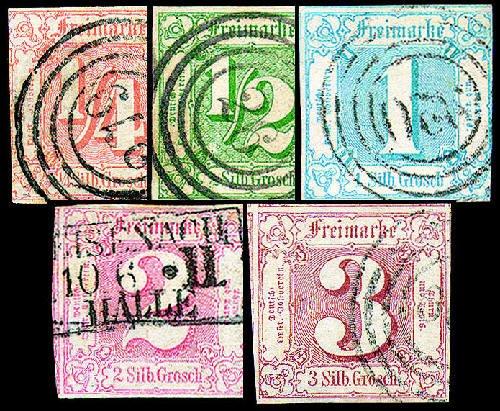 Goldhahn Thurn und Taxis Nr. 13-17 Briefmarken für Sammler