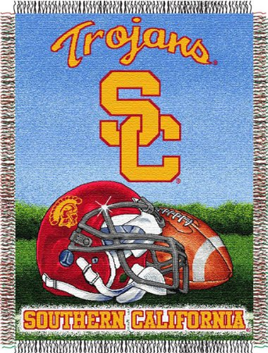 Officially Licensed NCAA USC Trojans Home Field Advantage Woven Tapestry Throw Blanket, 48' x 60'