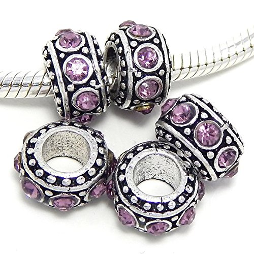 - Jewelry Monster -Set of 5- Birthstone Crystal Spacer Charm Beads (Alexandrite Purple)