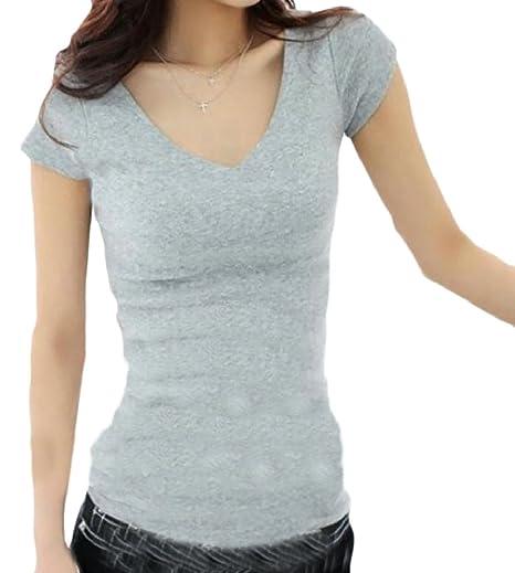 aa7a6b7c4d HTOOHTOOH Women s Short Sleeve Slim Solid V Neck T Shirt Basic Tee Tops 1  2XL