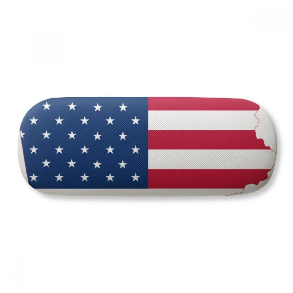 Pennsylvania America Map Stars Stripes Flag Glasses Case Eyeglasses Clam Shell Holder Storage Box