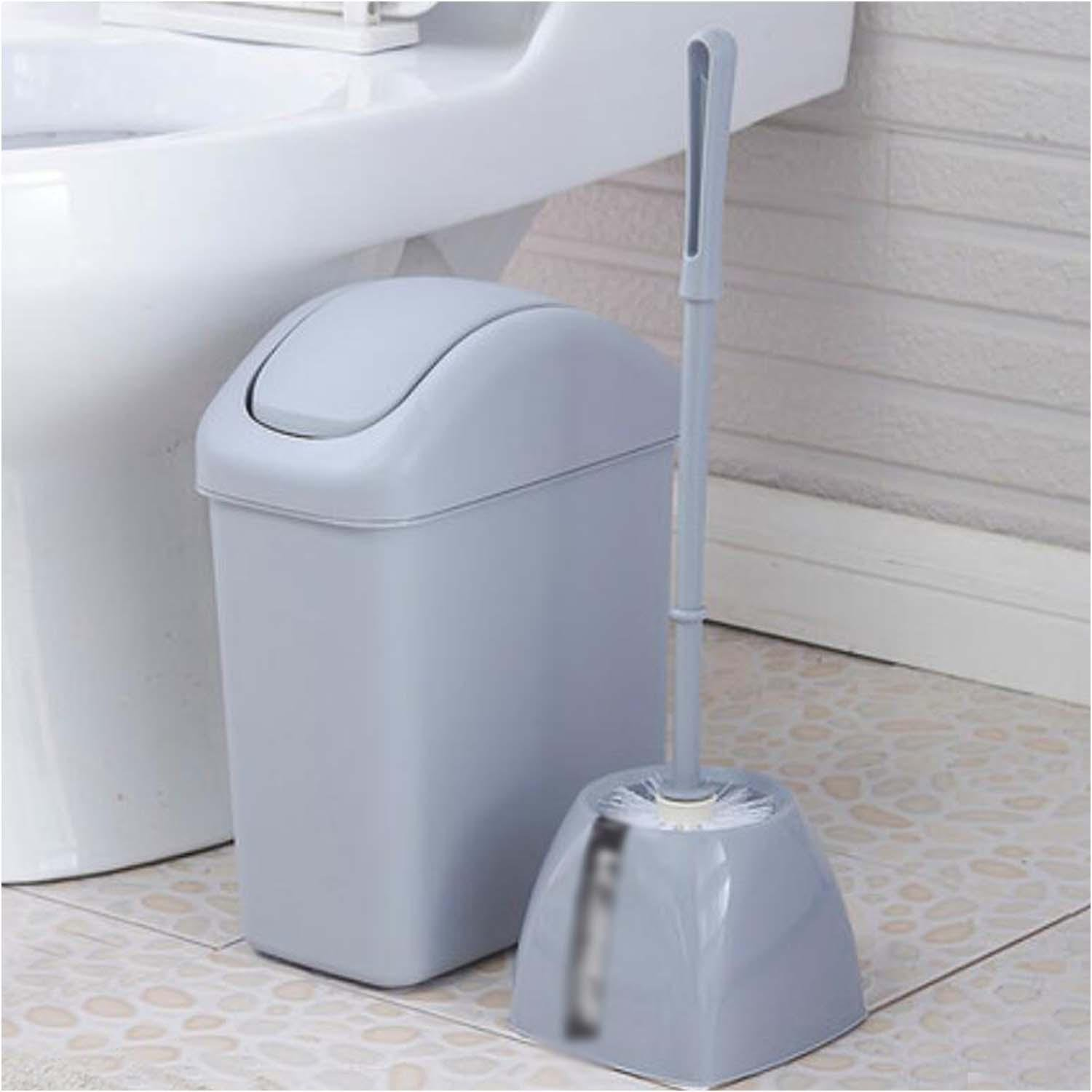 OOFYHOME Shaking trash cans, creative toilet trash cans toilet brush set, covered trash cans , C