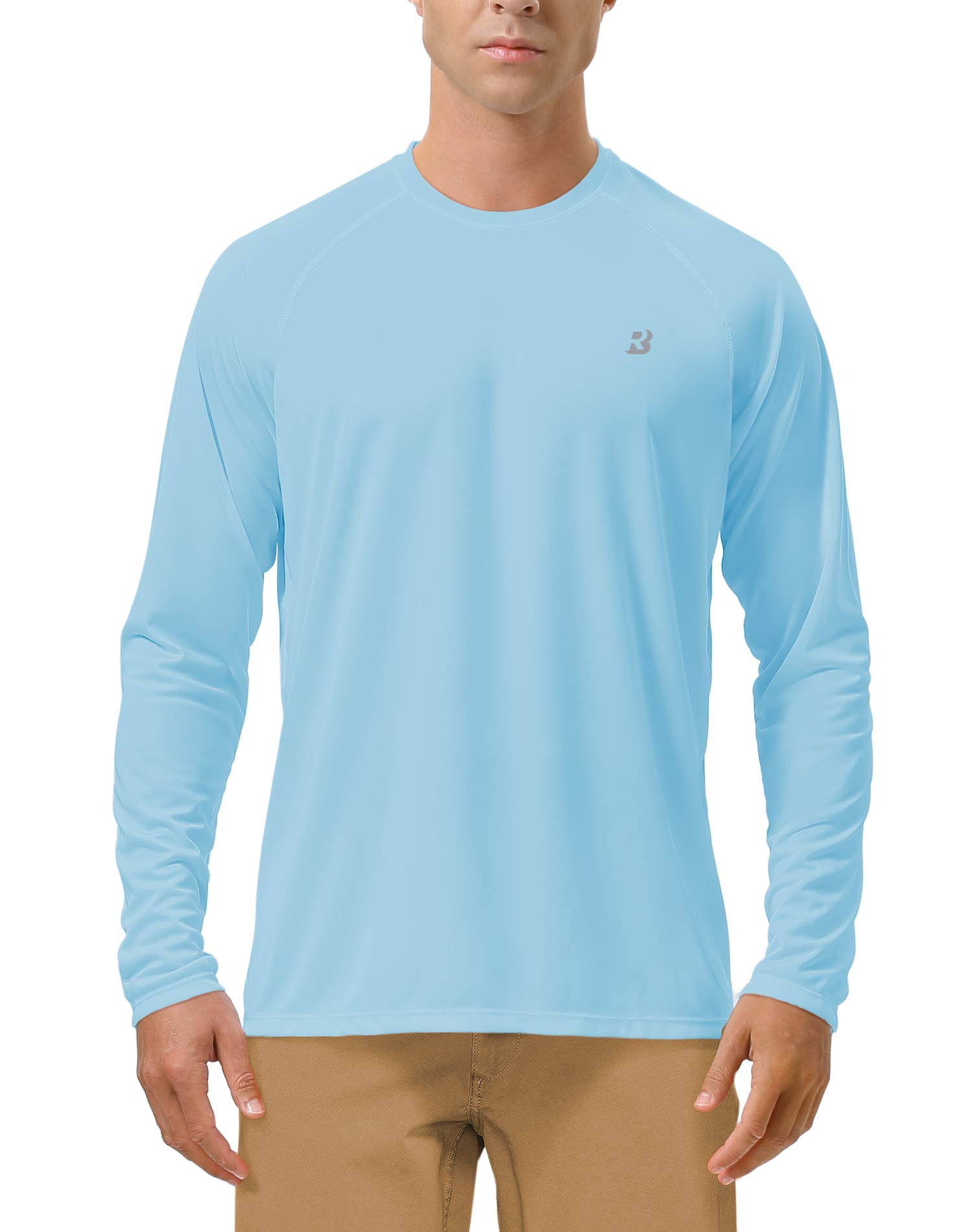 Roadbox Men's Sun Protection UPF 50+ UV Outdoor Long Sleeve Dri-fit T-Shirt Rashguard for Running, Fishing, Hiking(Large, Blue) by Roadbox