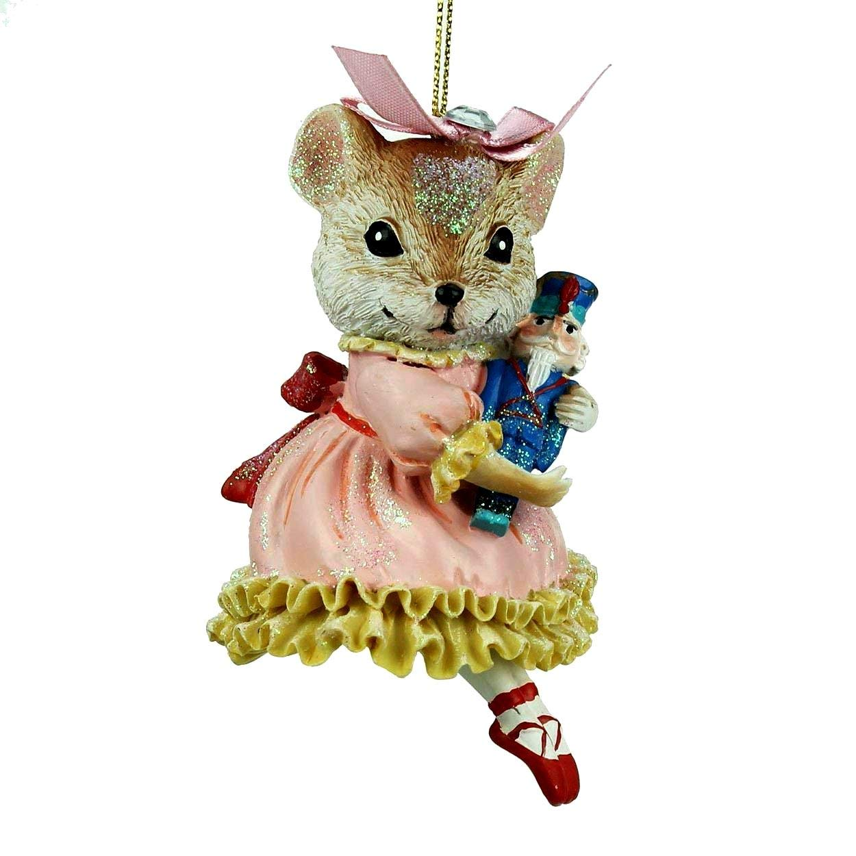 Clara and Her Prince Nutcracker Mouse Sugar Plum Fairy Ballerina Tree Decoration Gisela Graham ACHARACTERSHOP
