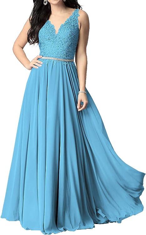 Abendkleider V Ausschnitt Ruckenfrei Bodenlang Brautjungfernkleider Partykleider A Linie Chiffon Ballkleider Elegant Hochzeit Kleid Amazon De Bekleidung