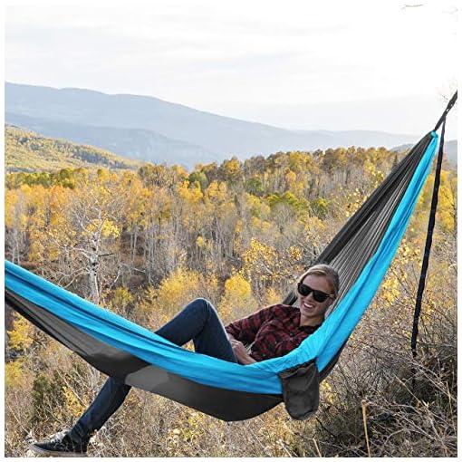 Garden and Outdoor Kootek Camping Hammock Double & Single Portable Hammocks with 2 Tree Straps, Lightweight Nylon Parachute Hammocks for… hammocks