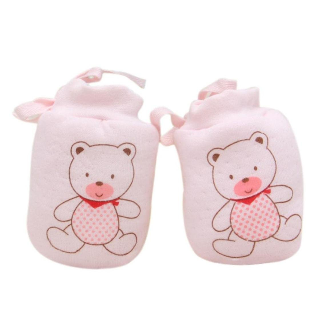Kolylong 1 Pairs Cartoon Baby Anti Scratch Mittens Soft Newborn Rope Thickness Gloves Gift Kolylong-JI5