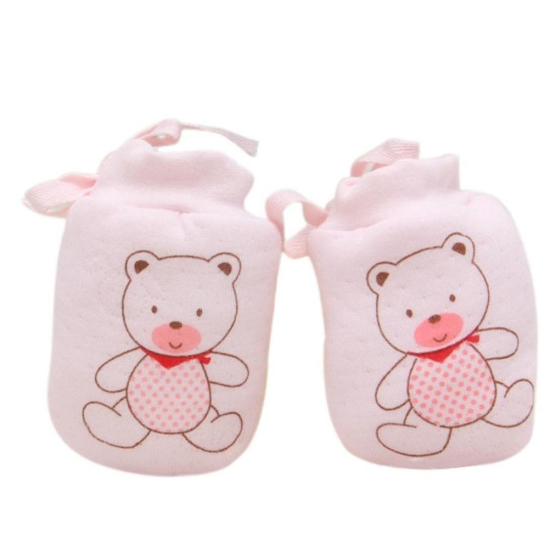 Kolylong 1 Pairs Cartoon Baby Anti Scratch Mittens Soft Newborn Rope Thickness Gloves Gift Kolylong-JI5