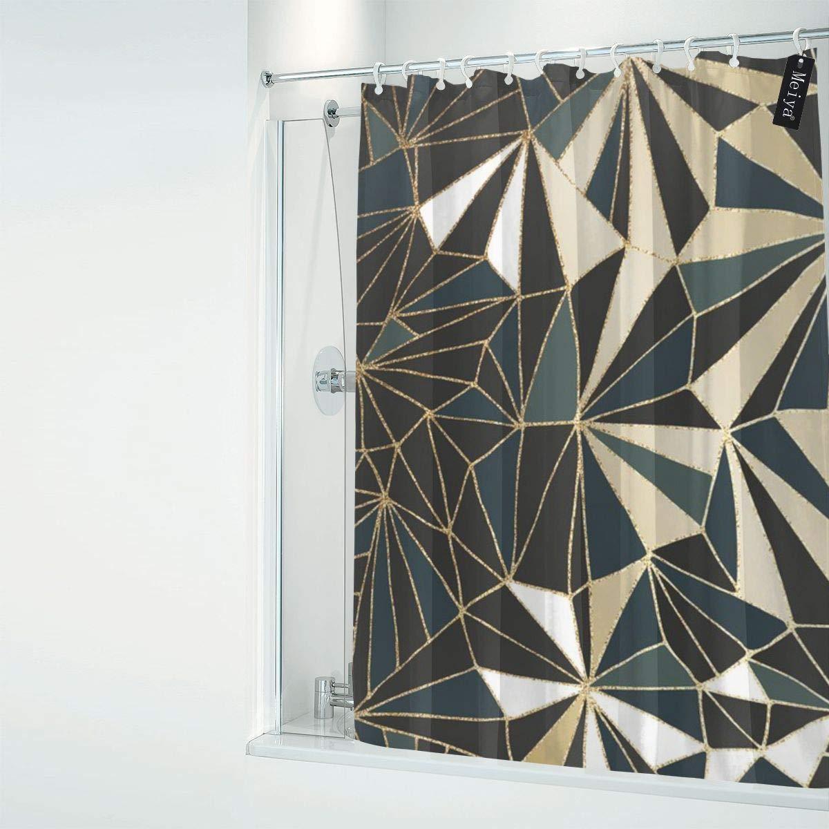 Sotyi-ltd Rideaux de Douche avec 12 Crochets Motif g/éom/étrique Vert /émeraude et dor/é 182,9 x 182,9 cm