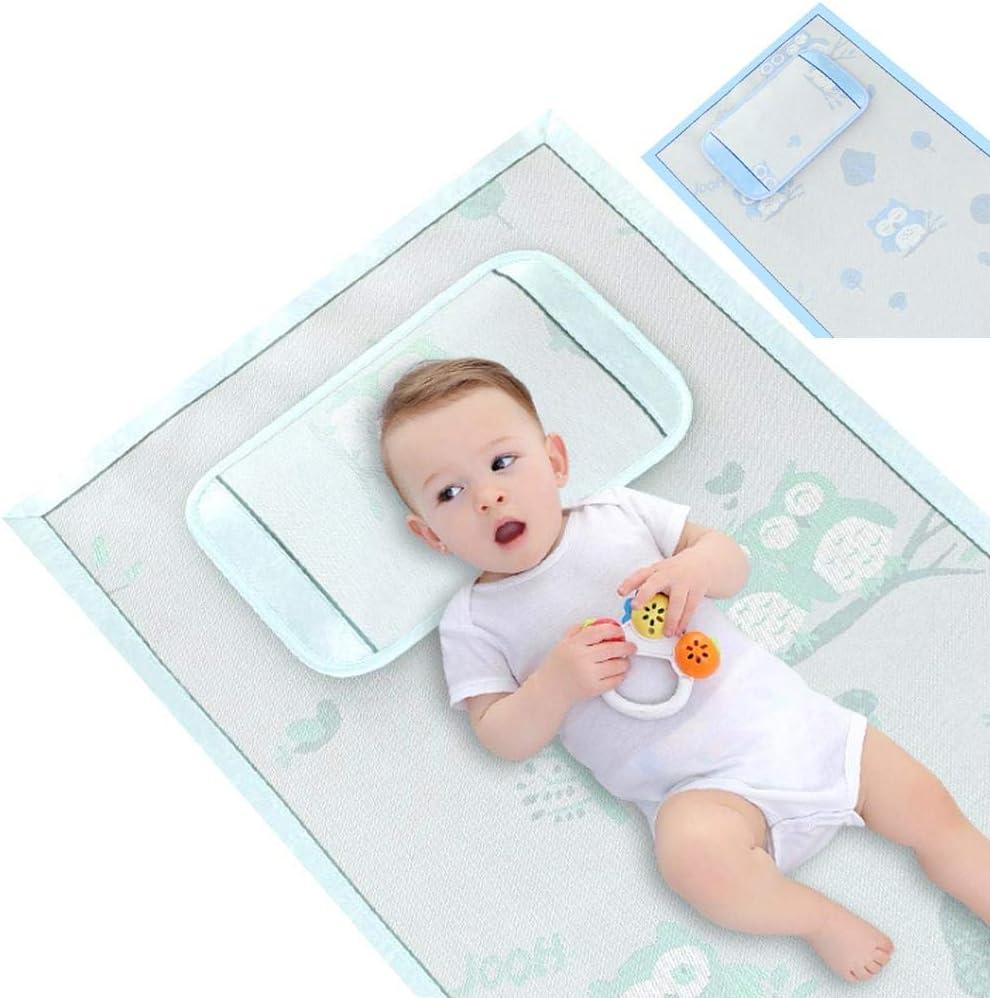winnerruby Estera para beb/és colchoneta para Dormir con Almohada Estera de Viscosa para beb/és de 0 a 5 a/ños Juego de esteras para Cuna Cama Plegable Plegable de Verano Azul Verde S/ábana para ni/ños