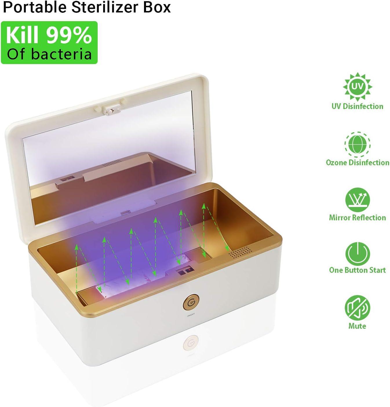 Caja sterilizer UV desinfección para reutilizar mascarillas de ozono, espejo de reflexión, botón de encendido y silencioso