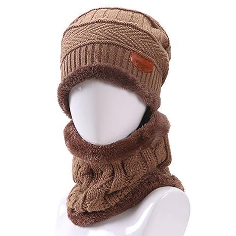 Cappello Uomo invernale Berretto Uomo in Maglia con sciarpa 33922ffa31c2