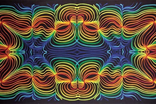 Sunshine Joy 3D Rainbow Ripple Tapestry Wall Hanging Trippy Table Cloth Magical Dorm Decor – Huge 60×90 Inches
