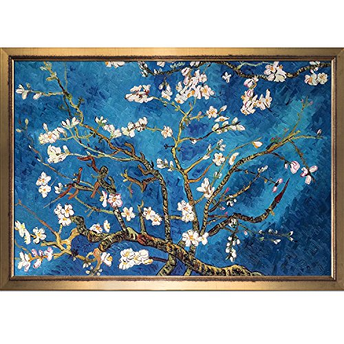 overstockArt La Pastiche Branches of an Almond Tree in Blossom Painting by Van Gogh with Burnished Gold Frame IV, Large - Almond Branches