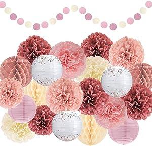 EpiqueOne Special Occasion Decoration Set - 22 Pcs Dusty Rose, Mauve, Blush Pink, Cream Decoration Kit - Pom Poms, Lanterns, Honeycomb & Garland - Decor for Birthday, Wedding, Baby Shower Party