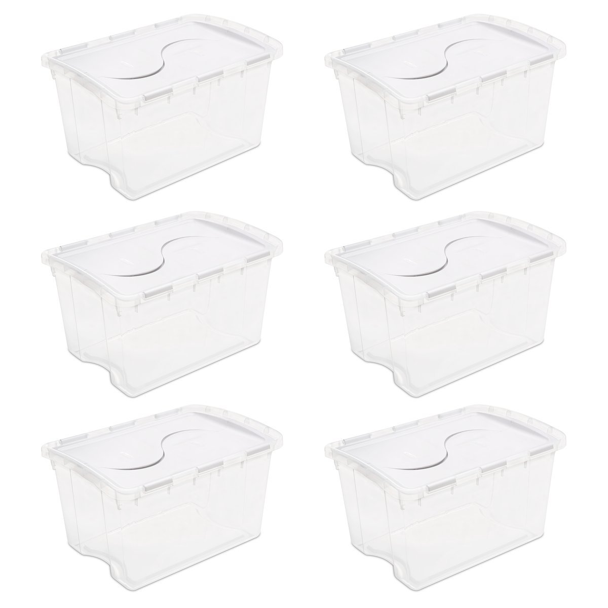 Sterilite 19148006 48 Quart/45 Liter Hinged Lid Storage Box, Clear with White Lid, 6-Pack