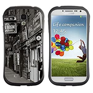 "Pulsar iFace Series Tpu silicona Carcasa Funda Case para SAMSUNG Galaxy S4 IV / i9500 / i9515 / i9505G / SGH-i337 , Vista de la Calle Tiendas Negro Blanco retro de la foto"""